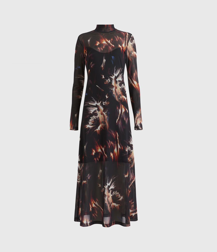 Womens Hanna Flames Dress (black) - Image 2