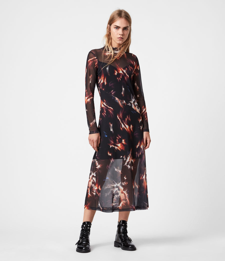 Womens Hanna Flames Dress (black) - Image 4