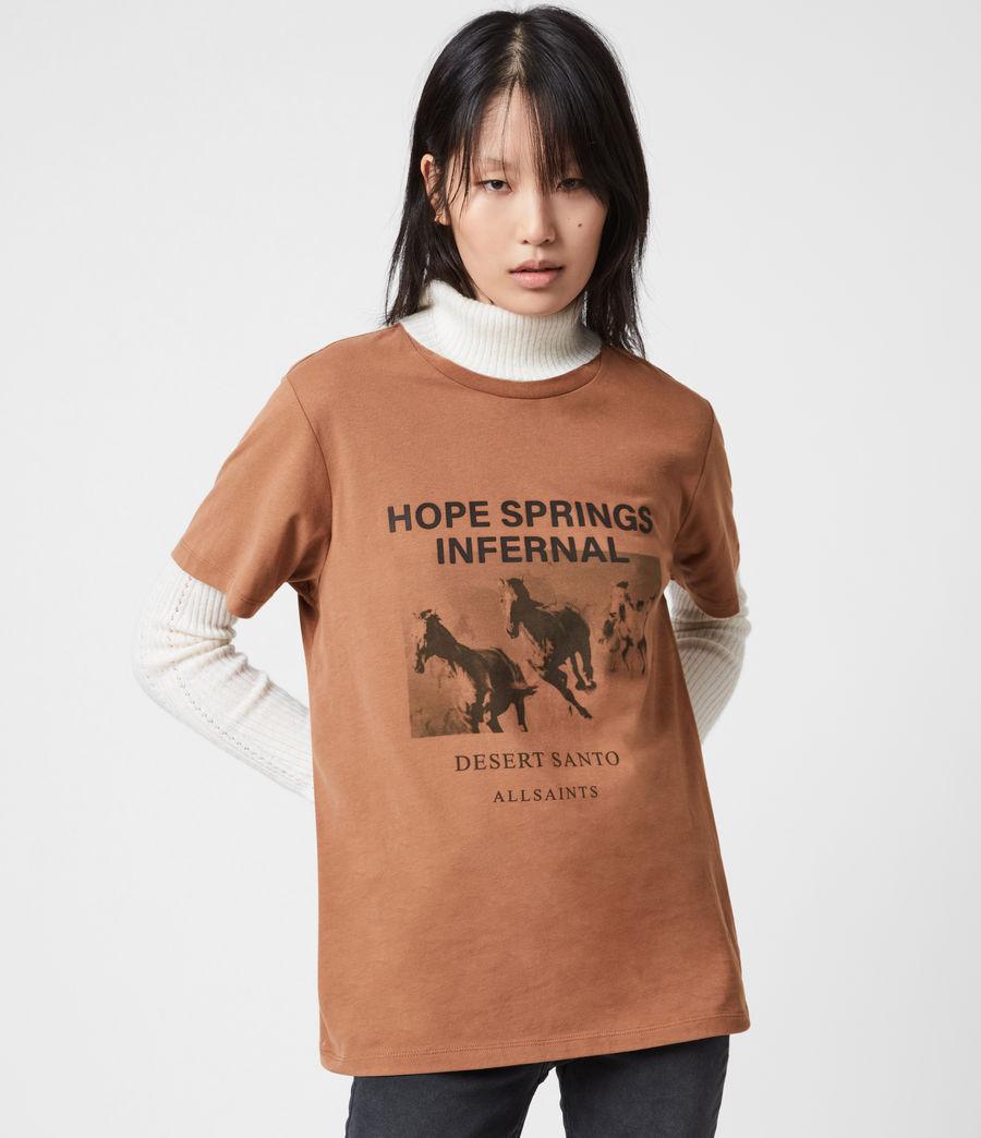 Women's Santo Boyfriend T-Shirt (conker_brown) - Image 1