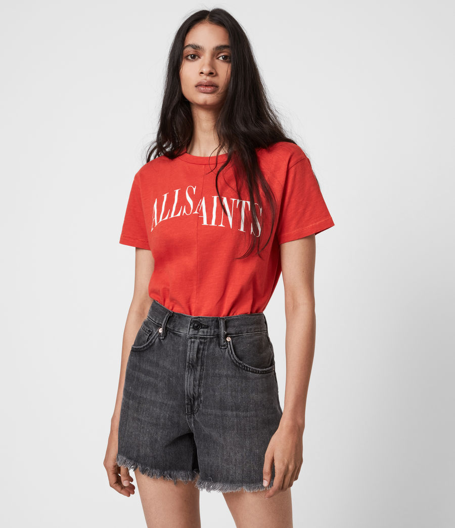 Womens Dropout Mic T-Shirt (bright_orange) - Image 4