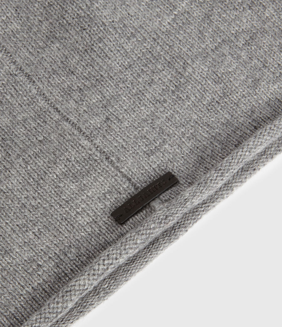 Womens Self Rolled Edge Cashmere Blend Beanie (pale_grey) - Image 4