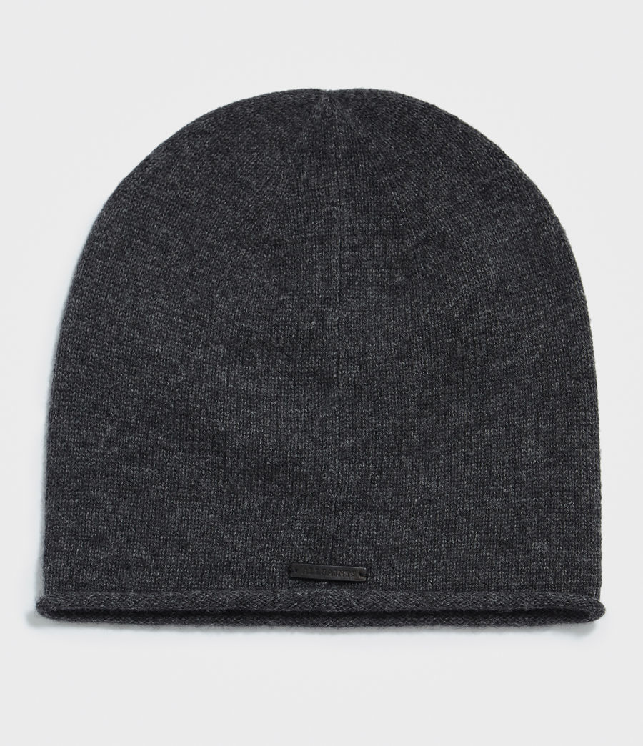 Womens Self Rolled Edge Beanie (cinder_black_marl) - Image 1