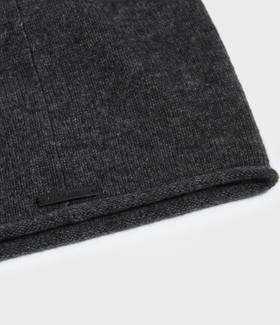 Womens Self Rolled Edge Beanie (cinder_black_marl) - Image 2