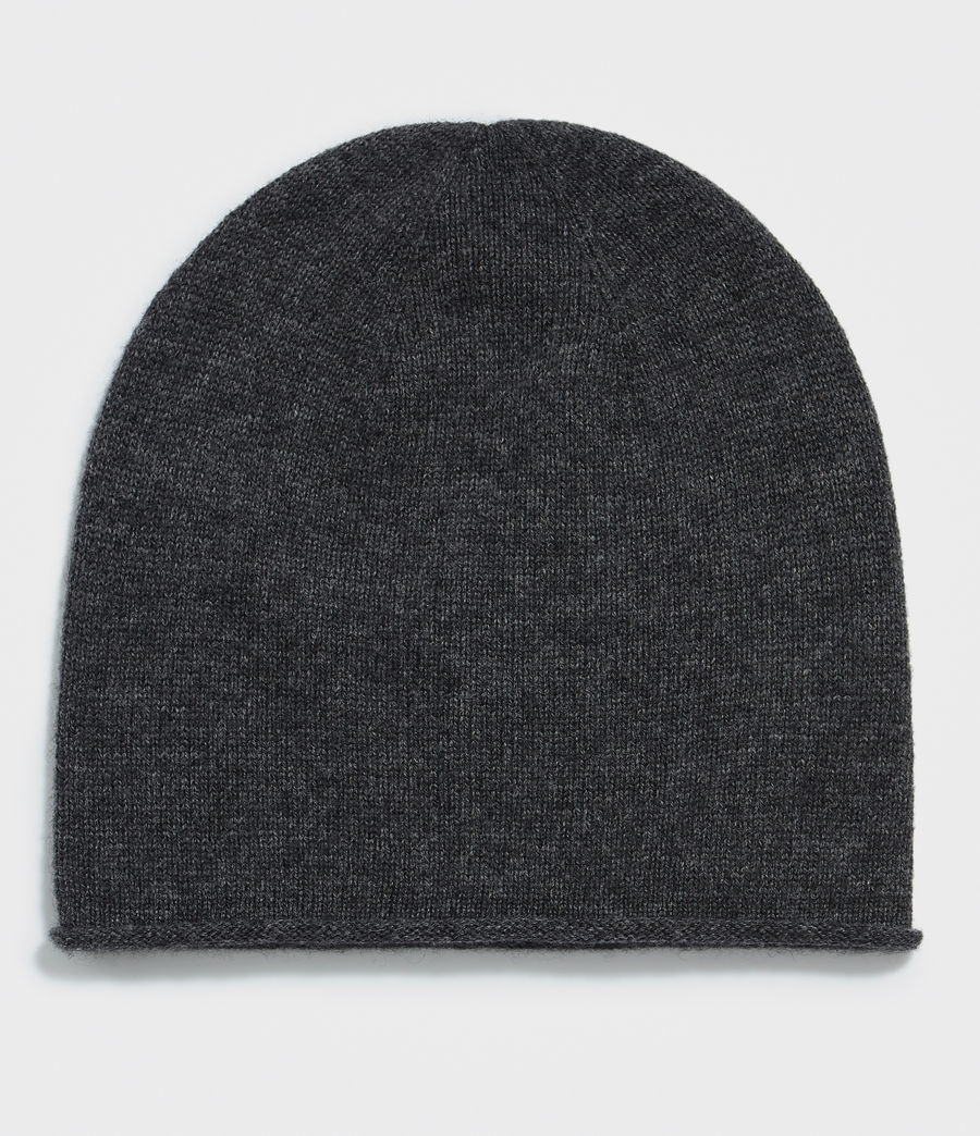 Womens Self Rolled Edge Beanie (cinder_black_marl) - Image 3