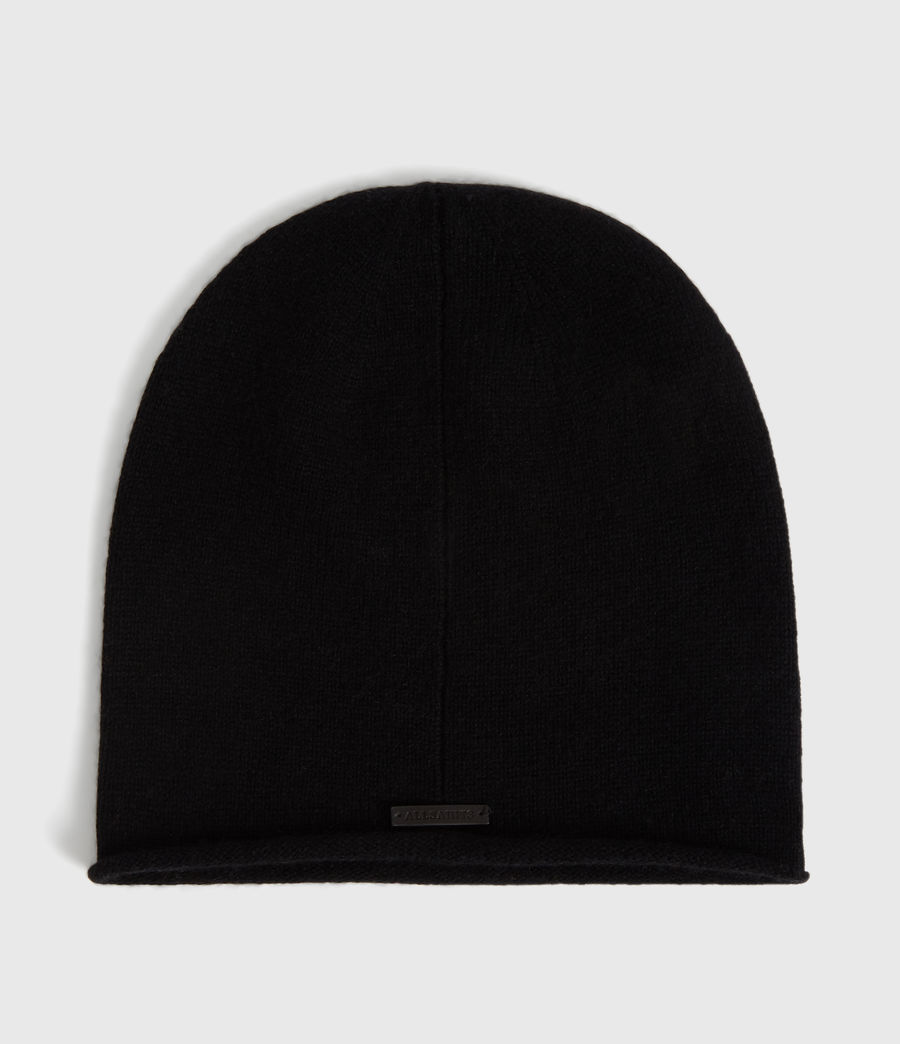 Womens Self Rolled Edge Cashmere Blend Beanie (black) - Image 2