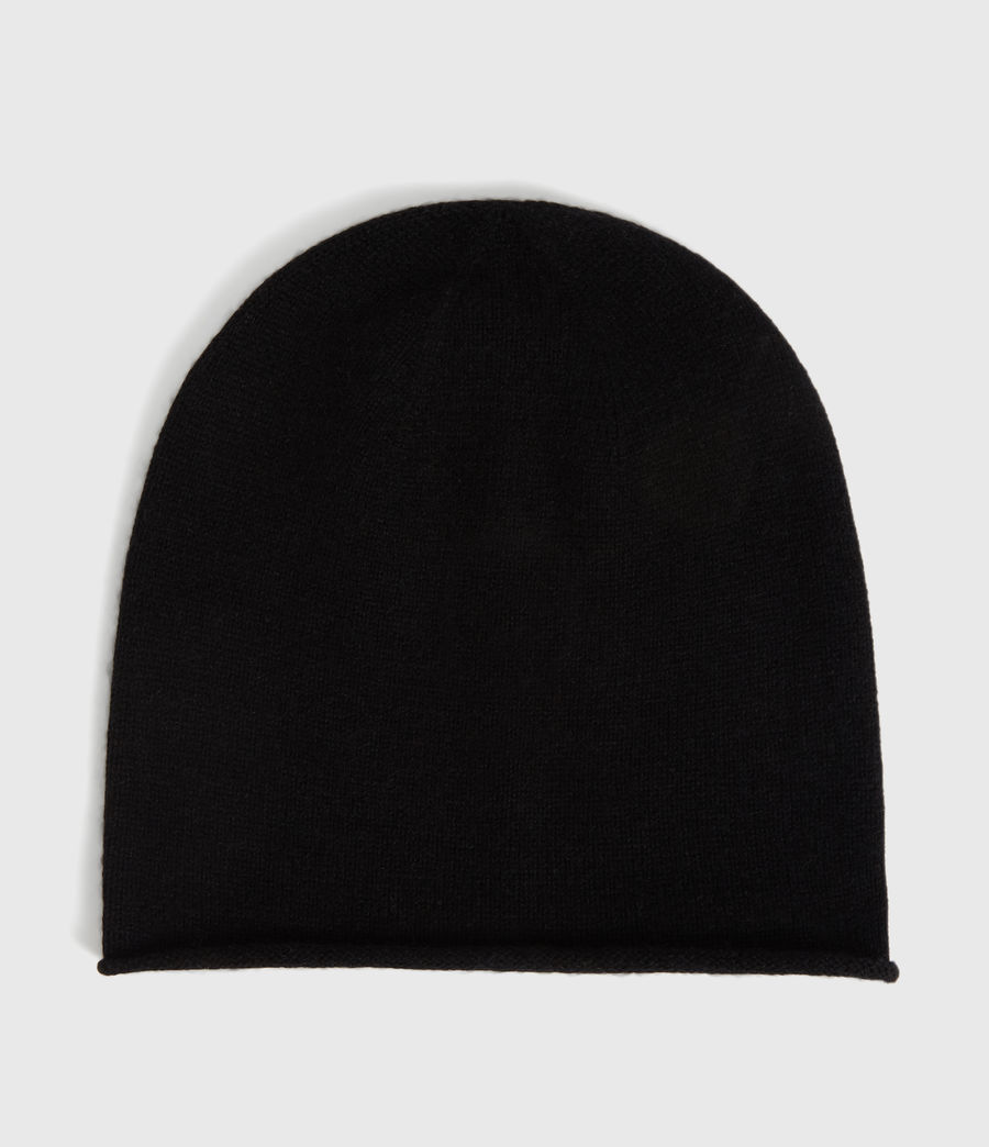 Womens Self Rolled Edge Cashmere Blend Beanie (black) - Image 5