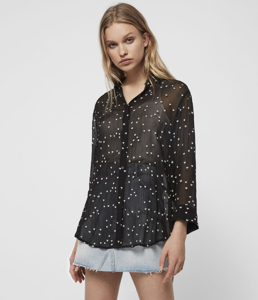 Womens Mariana Hearts Shirt (black) - Image 4