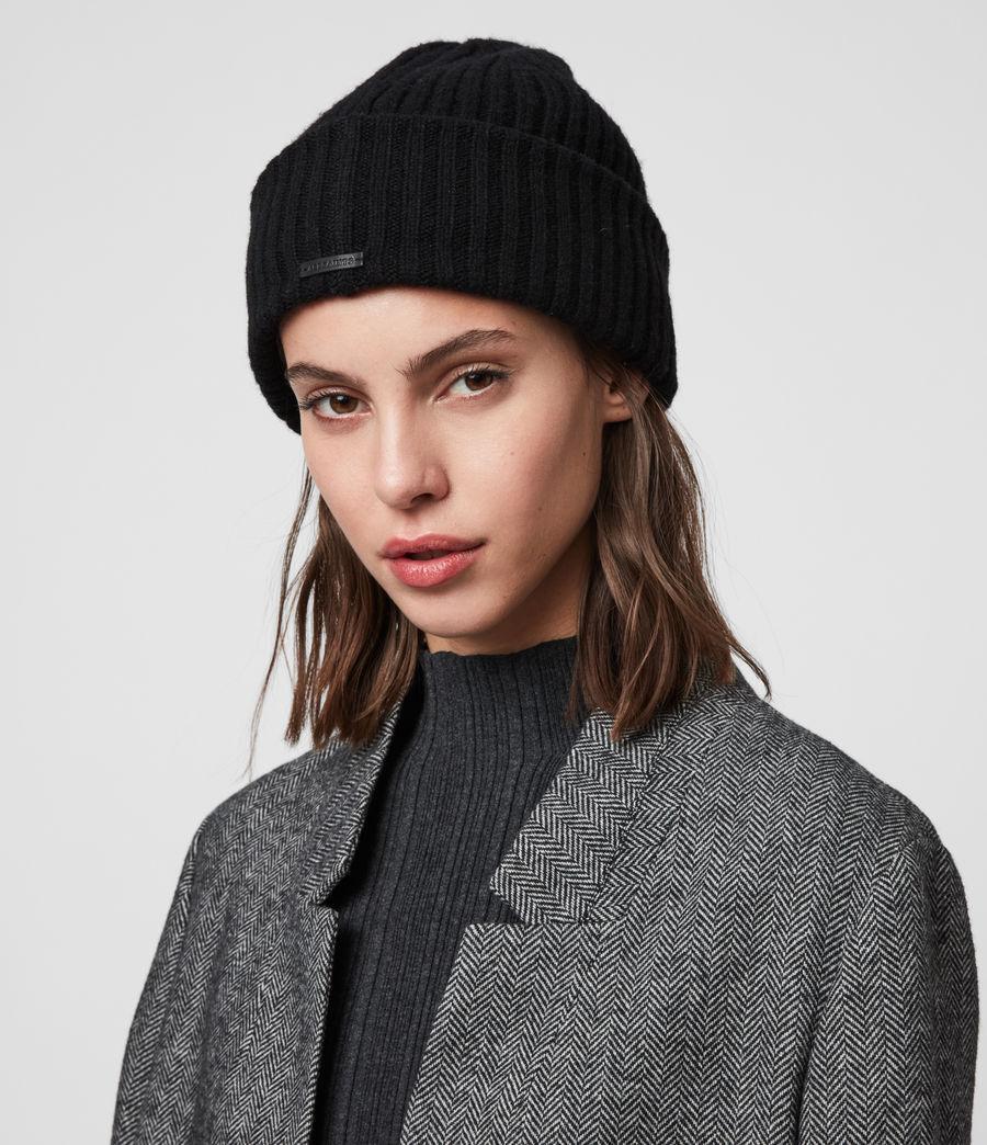 Womens Marled Wool Beanie (black) - Image 2