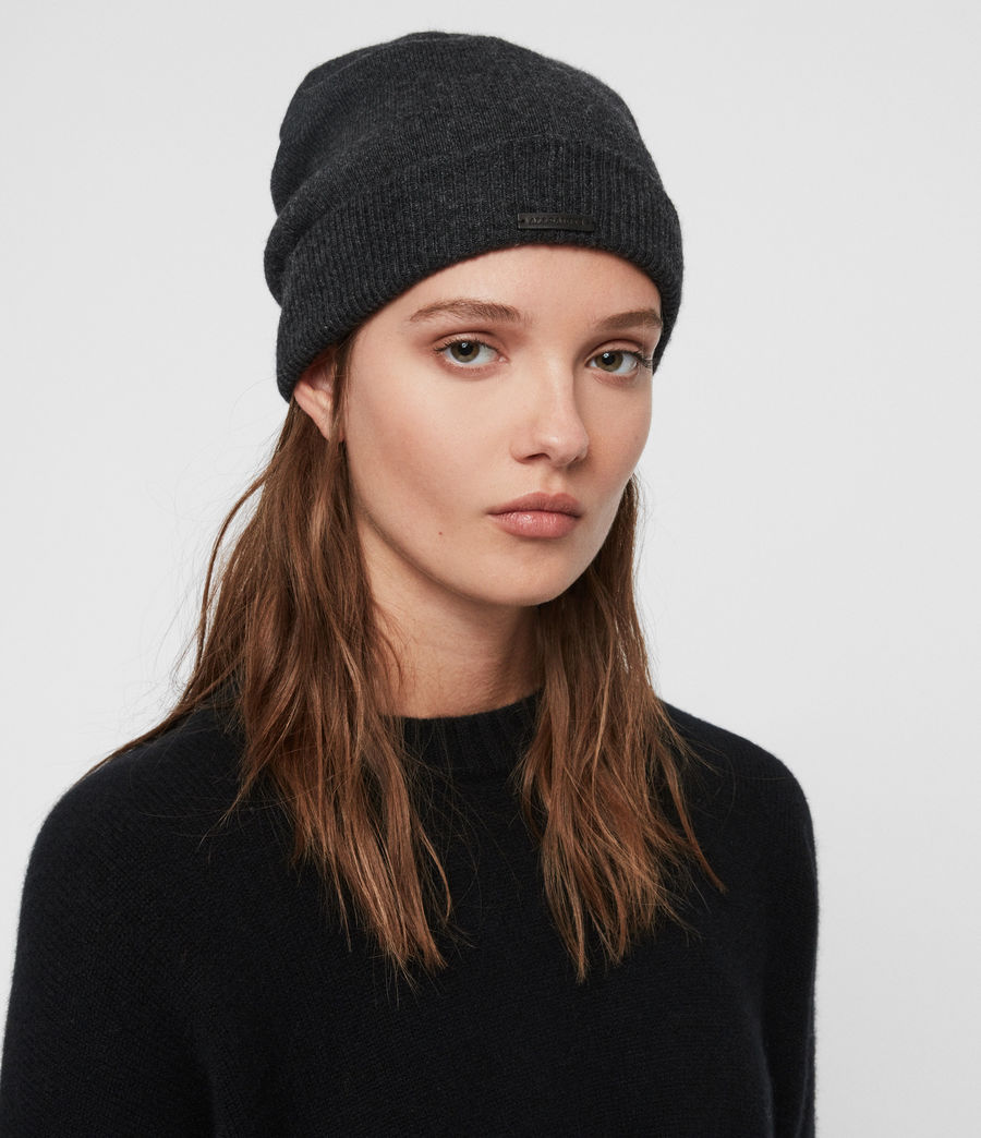 Womens Cashmere Blend Beanie (charcoal) - Image 1