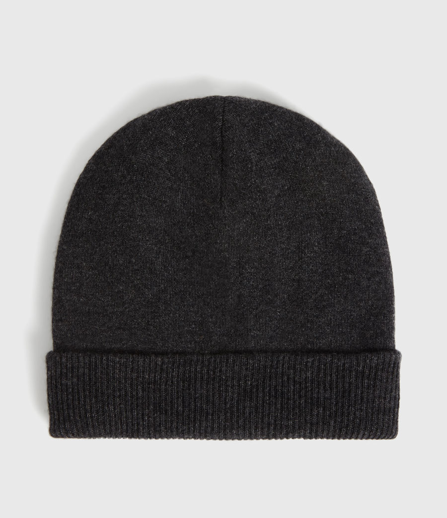 Womens Cashmere Blend Beanie (charcoal) - Image 4