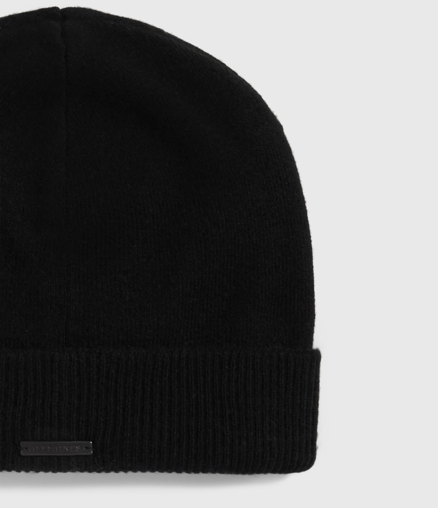 Womens Cashmere Blend Beanie (black) - Image 2