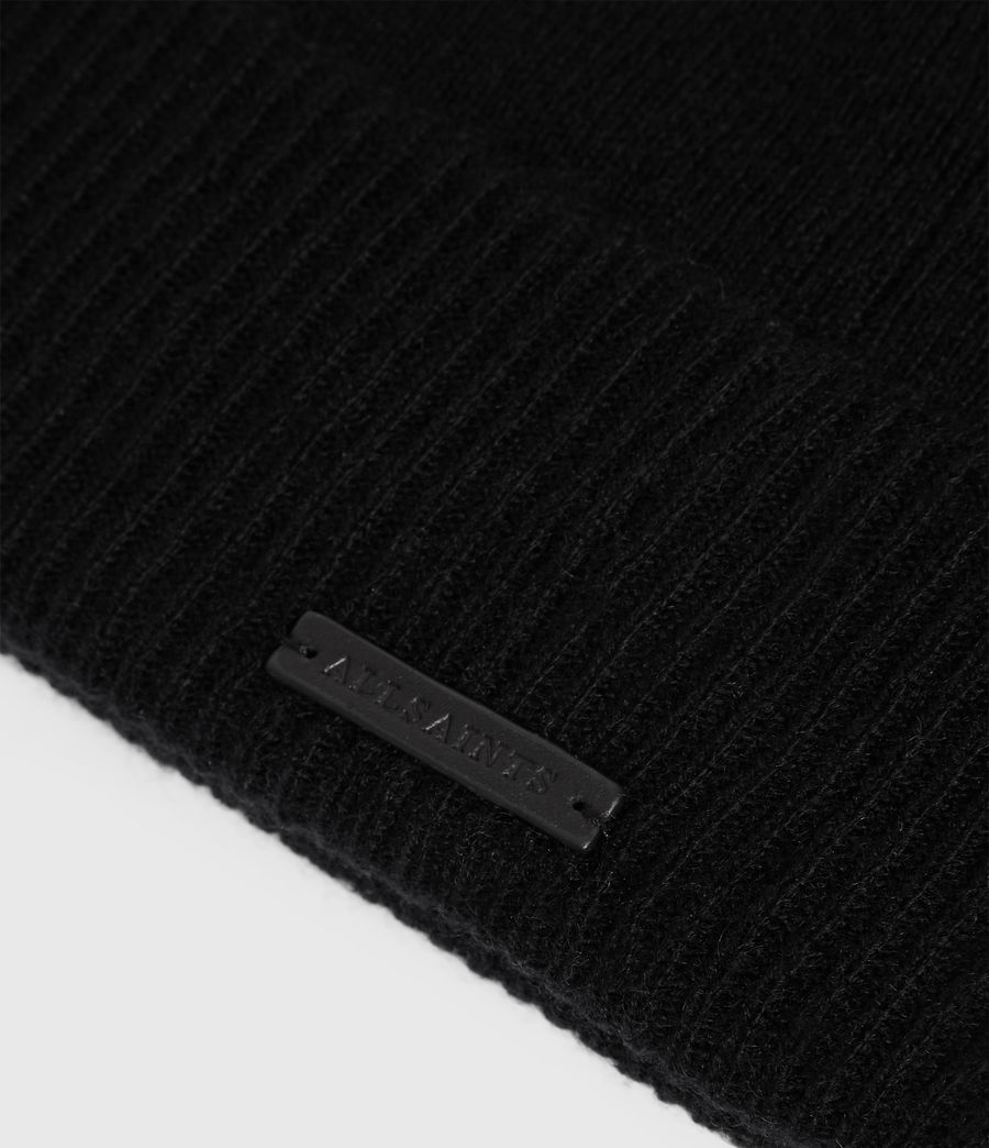 Womens Cashmere Blend Beanie (black) - Image 3