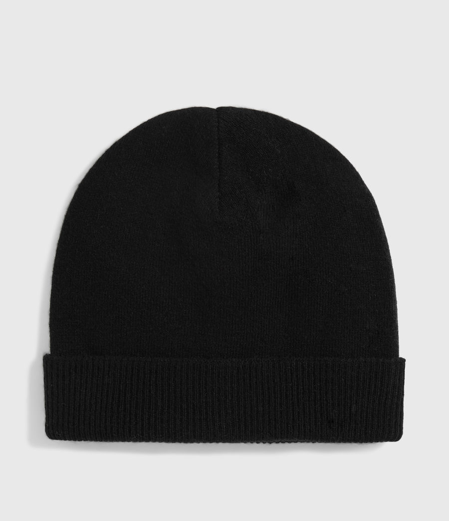 Womens Cashmere Blend Beanie (black) - Image 4