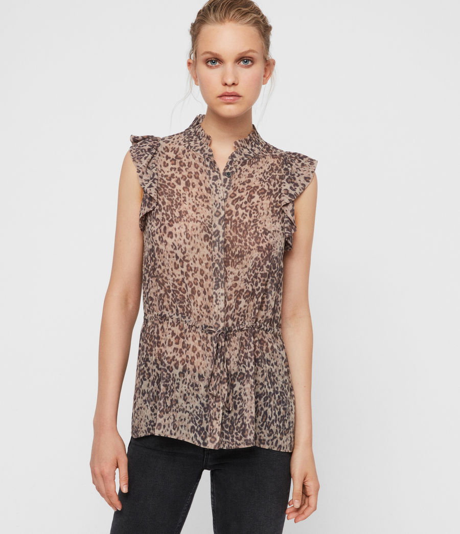 Donne Camicia Laney Patch - Leopardata con ruche (camel_brown) - Image 1