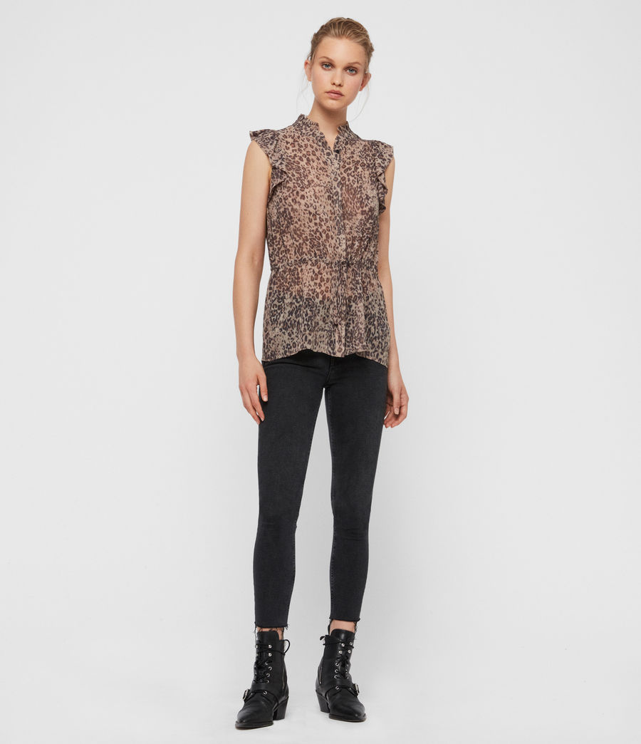 Donne Camicia Laney Patch - Leopardata con ruche (camel_brown) - Image 3
