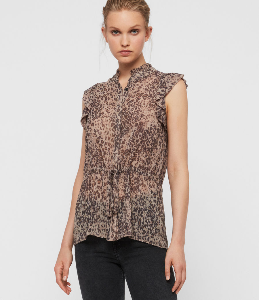 Donne Camicia Laney Patch - Leopardata con ruche (camel_brown) - Image 4