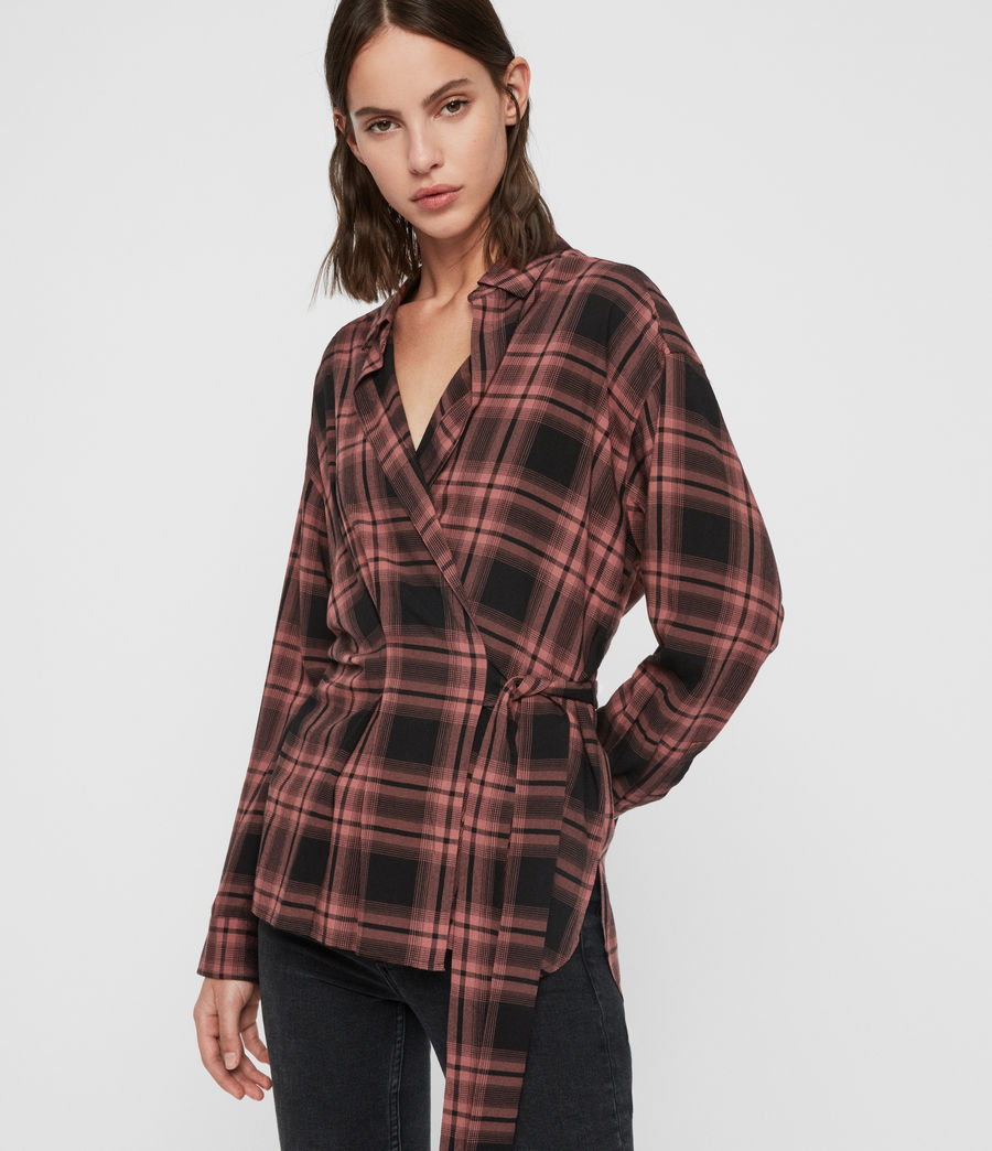 Womens Miki Check Shirt (red) - Image 1