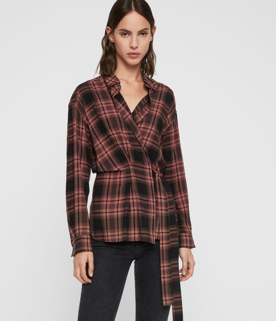 Womens Miki Check Shirt (red) - Image 2