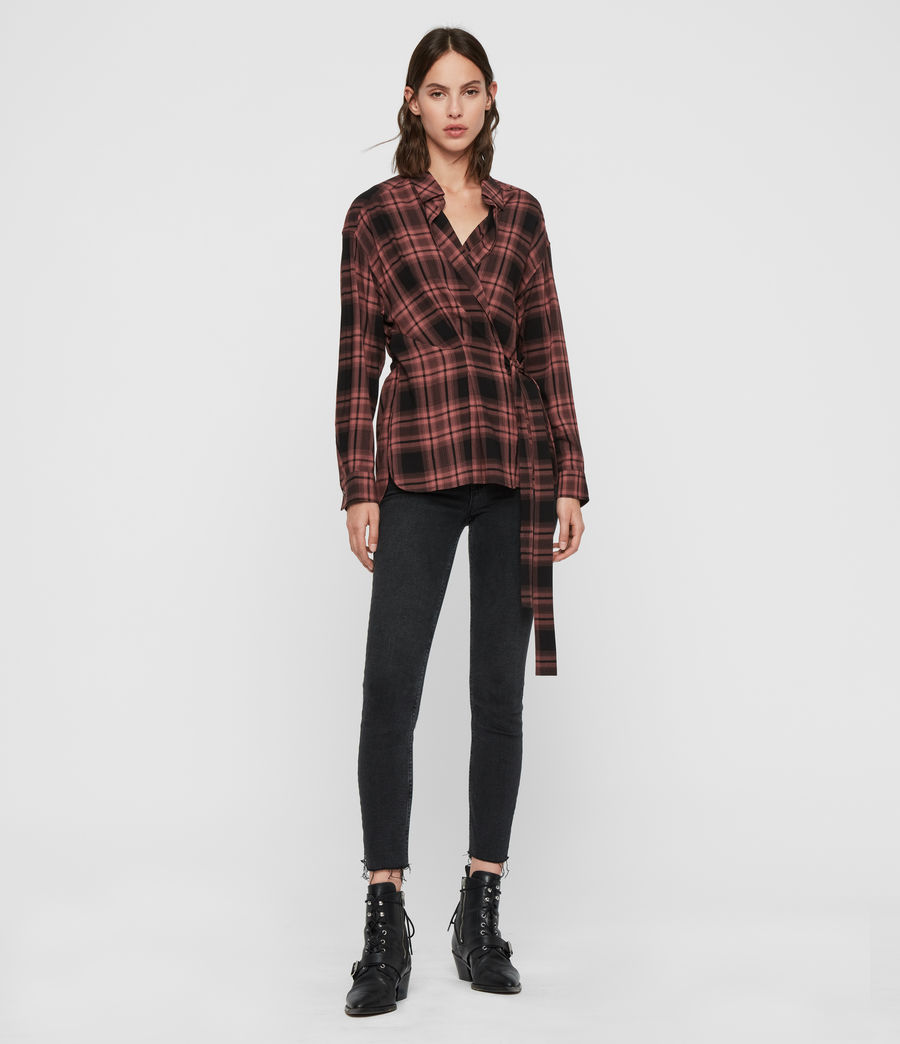 Womens Miki Check Shirt (red) - Image 3