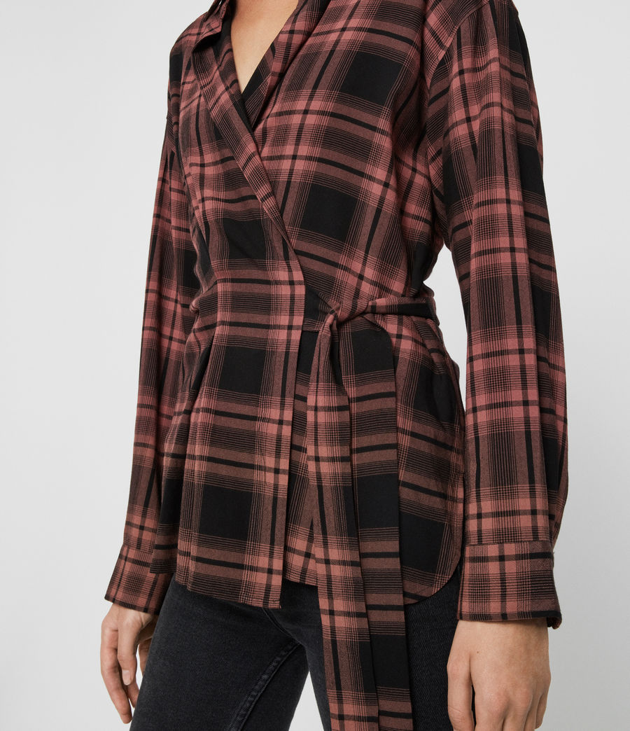 Womens Miki Check Shirt (red) - Image 4