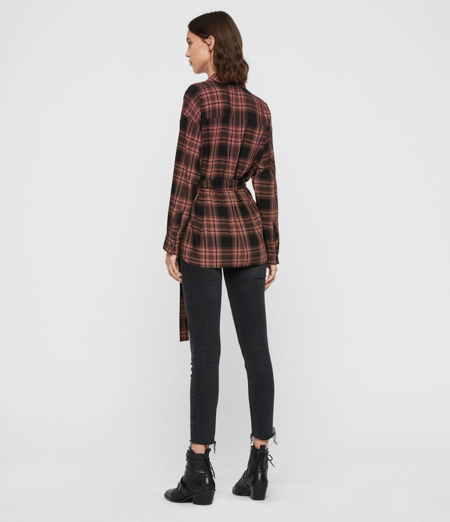 Womens Miki Check Shirt (red) - Image 5