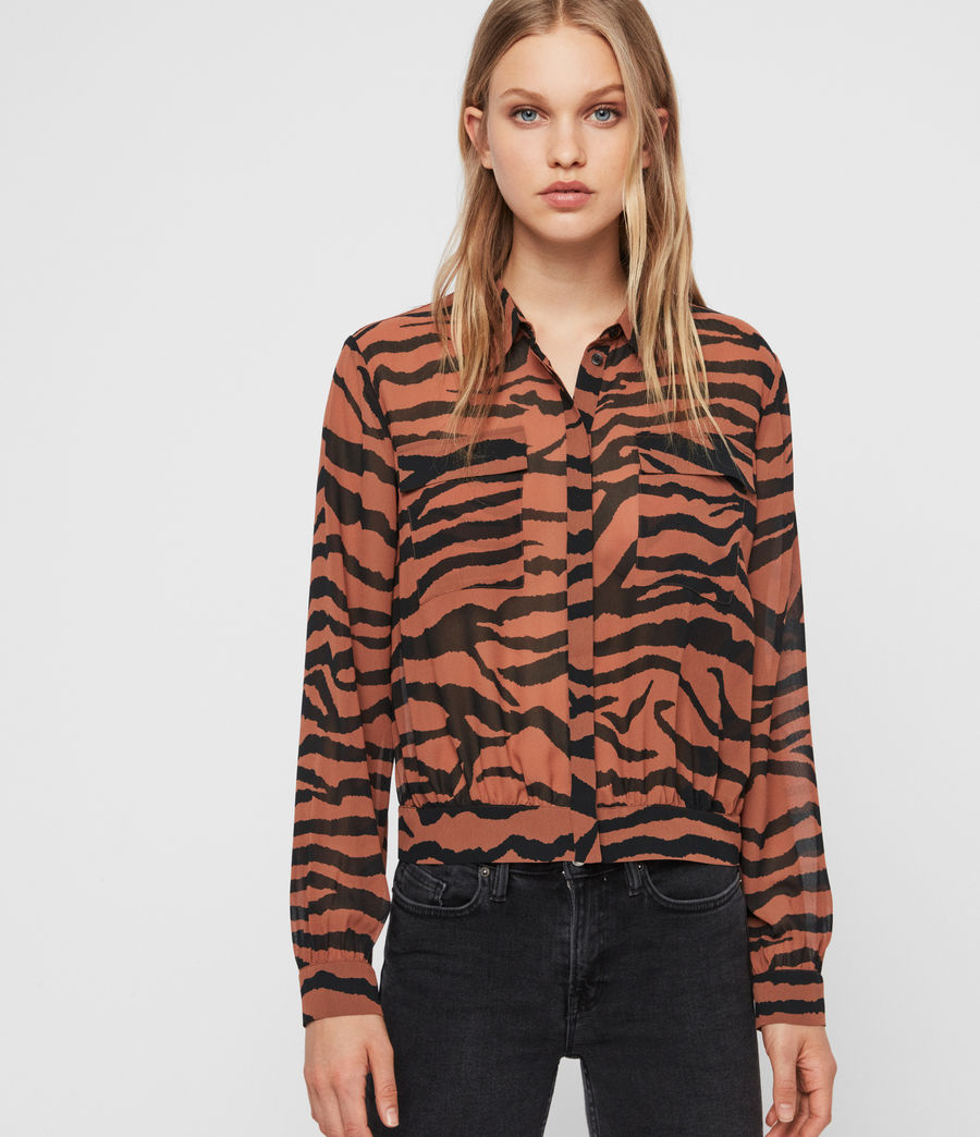 Women's Adeliza Zephyr Shirt (toffee_brown_black) - Image 1