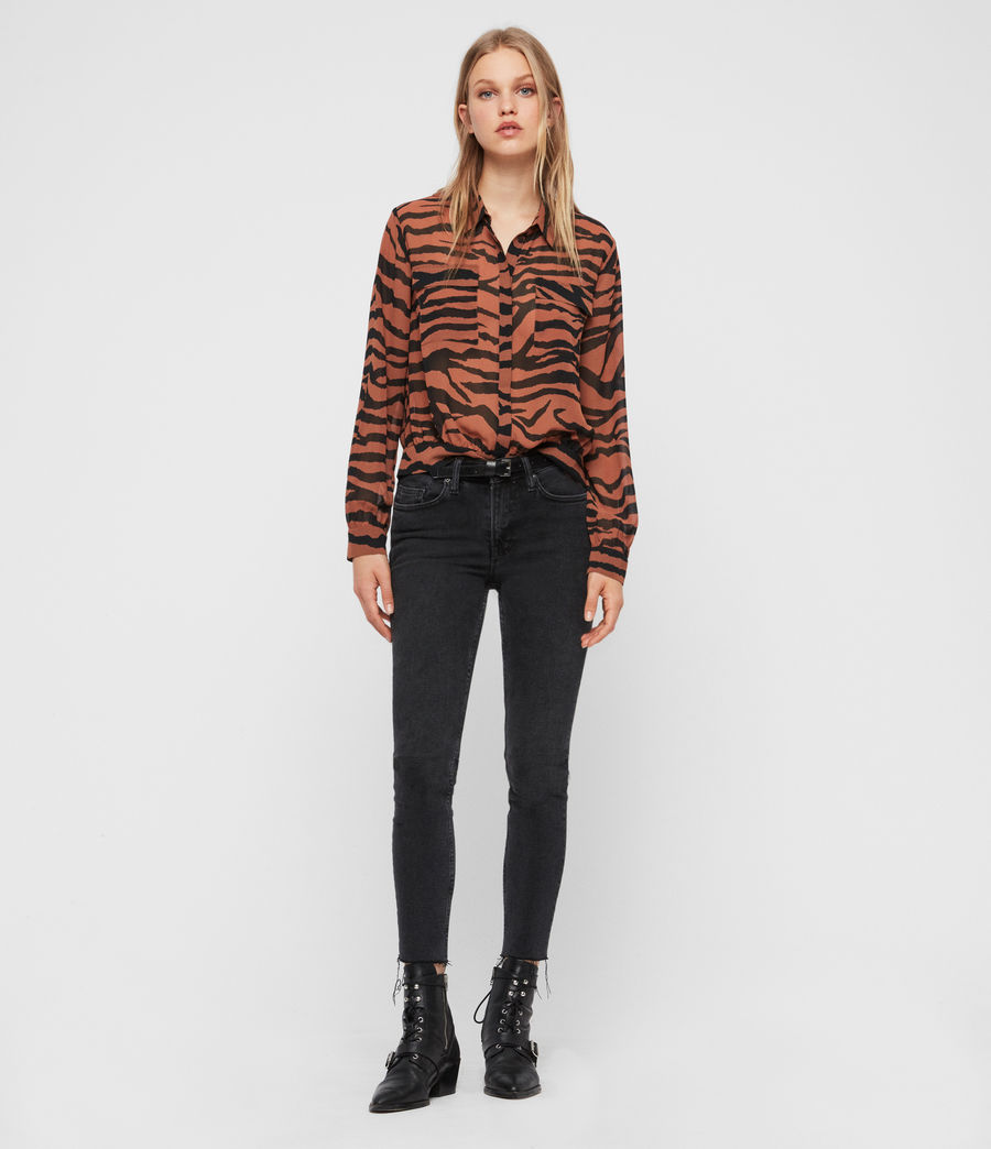 Women's Adeliza Zephyr Shirt (toffee_brown_black) - Image 3