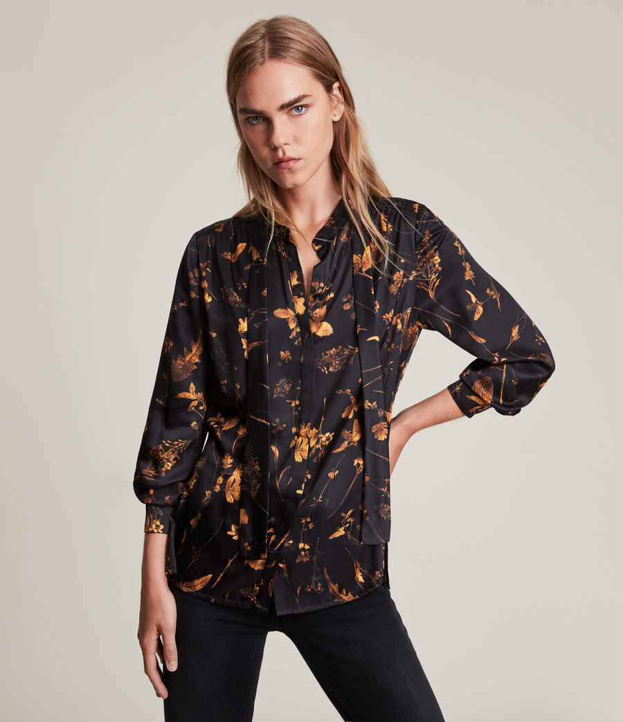 Women's Toni Heligan Silk Blend Shirt (black_gold) - Image 1