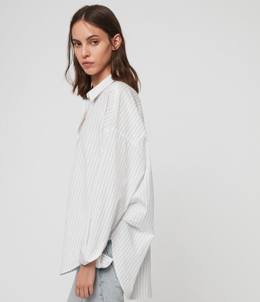 Womens Sada Stripe Shirt (chalk_white_black) - Image 3