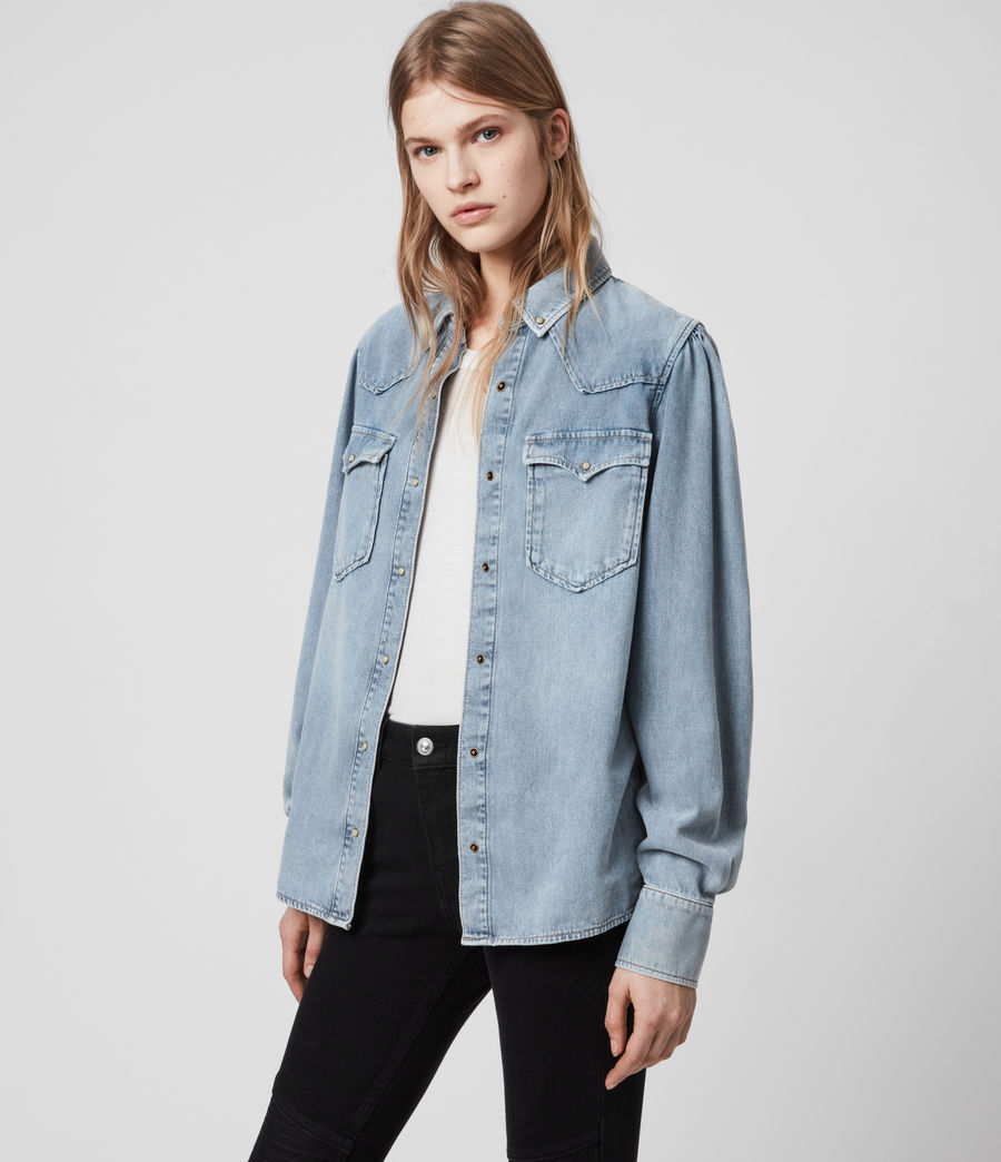 Women's Ava Denim Shirt (light_indigo_blue) - Image 4