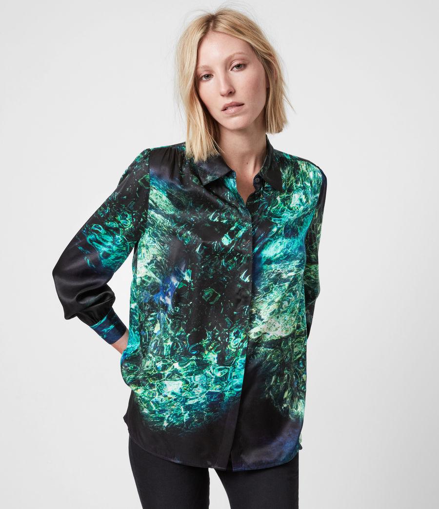 Womens Ava Springs Silk Blend Shirt (emerald_green) - Image 1