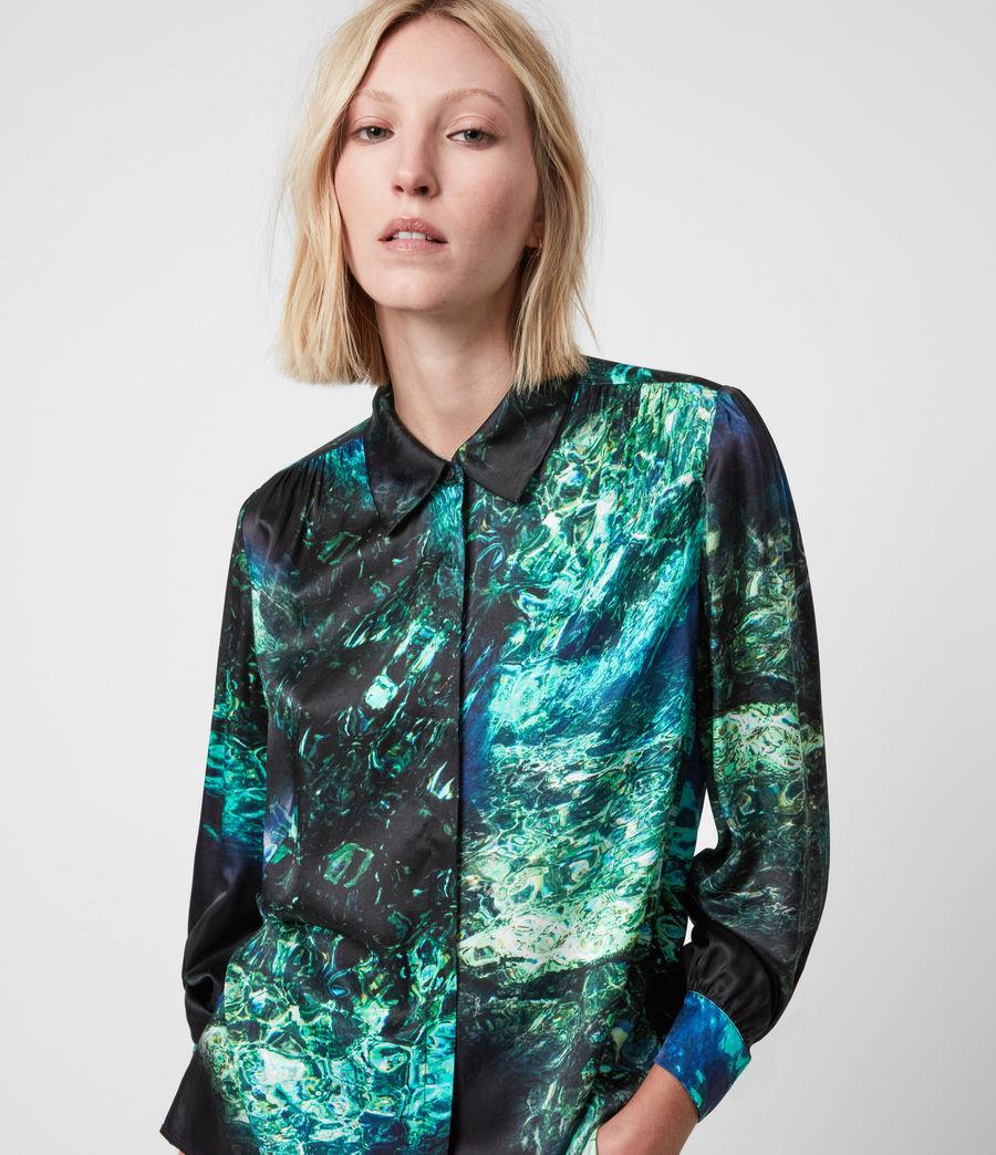 Womens Ava Springs Silk Blend Shirt (emerald_green) - Image 4