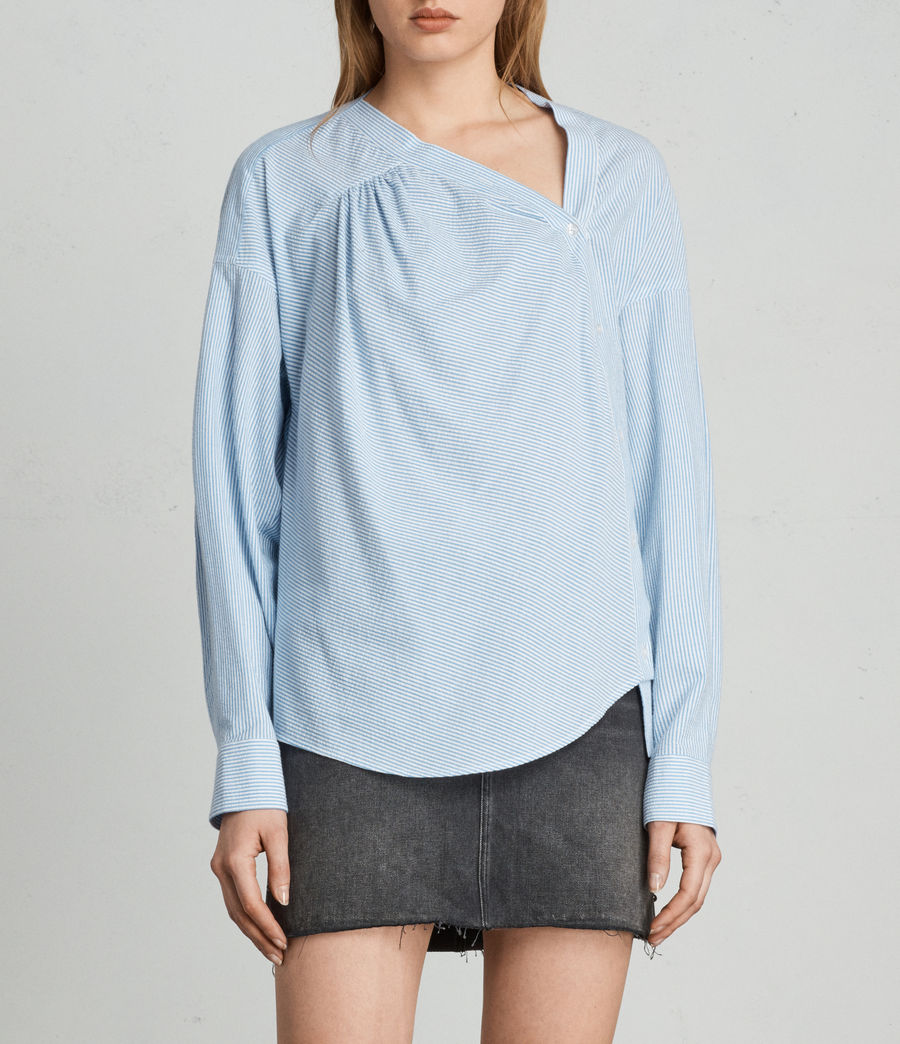 Women's Julie Textured Shirt (blue_chalk_stripe) - Image 1