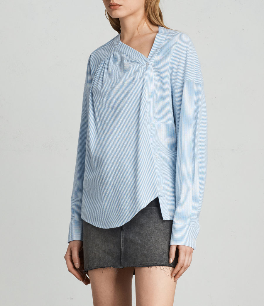Women's Julie Textured Shirt (blue_chalk_stripe) - Image 3