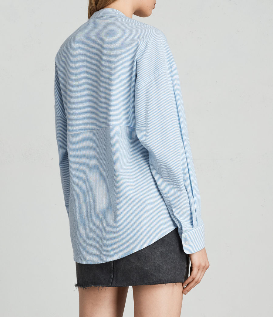Women's Julie Textured Shirt (blue_chalk_stripe) - Image 4