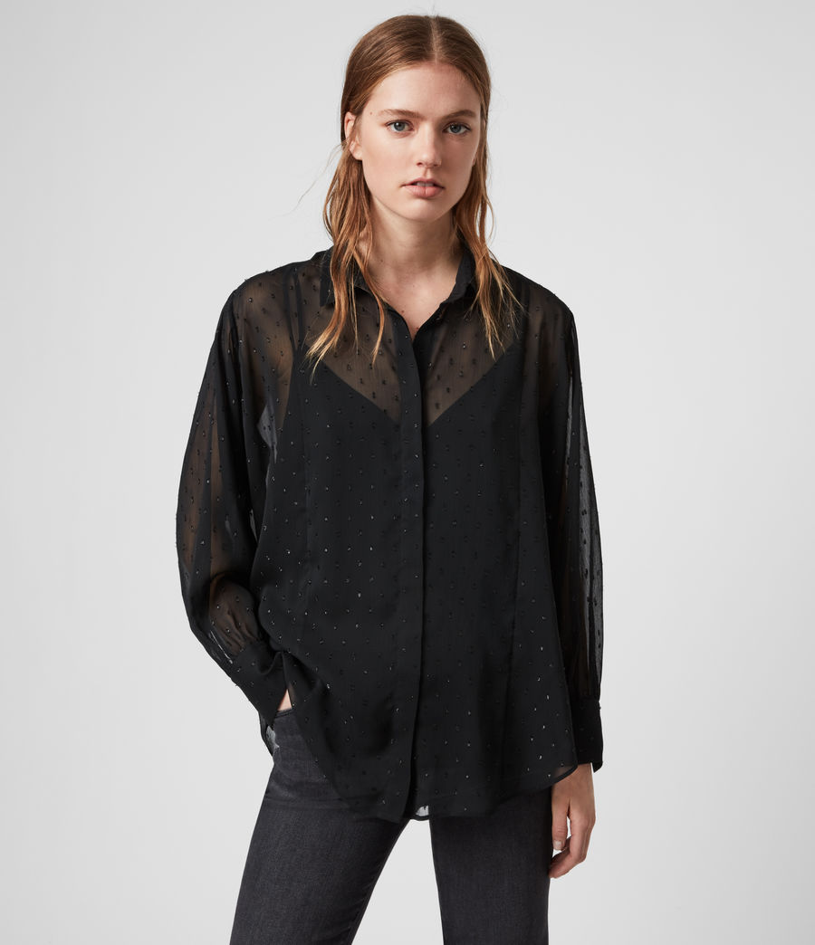 Womens Harriet Sparkle Shirt (black) - Image 1
