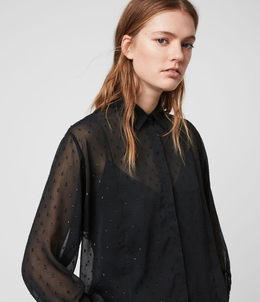 Womens Harriet Sparkle Shirt (black) - Image 2