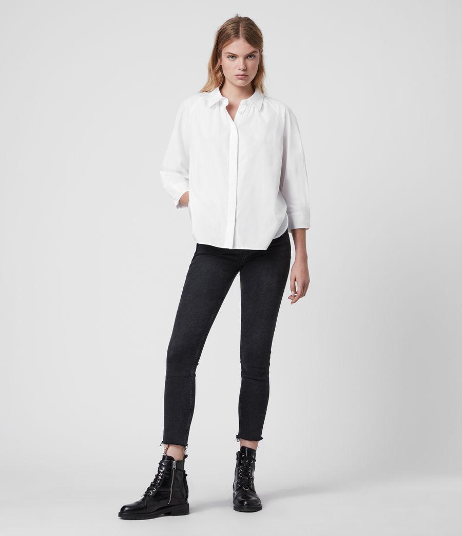 Mujer Camisa de Algodón con Manga Francesa Bernitta (chalk_white) - Image 1