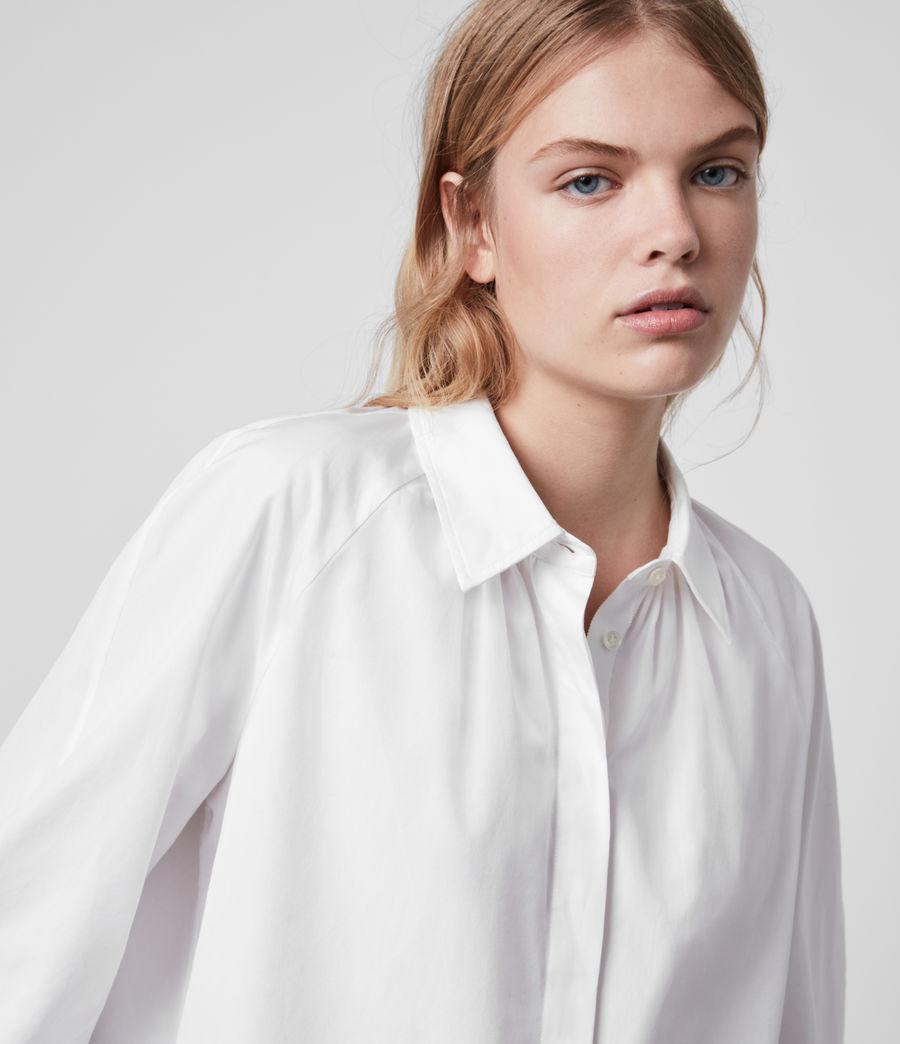 Mujer Camisa de Algodón con Manga Francesa Bernitta (chalk_white) - Image 2