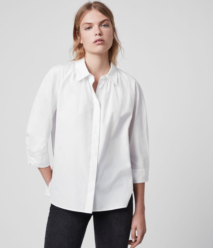 Mujer Camisa de Algodón con Manga Francesa Bernitta (chalk_white) - Image 4