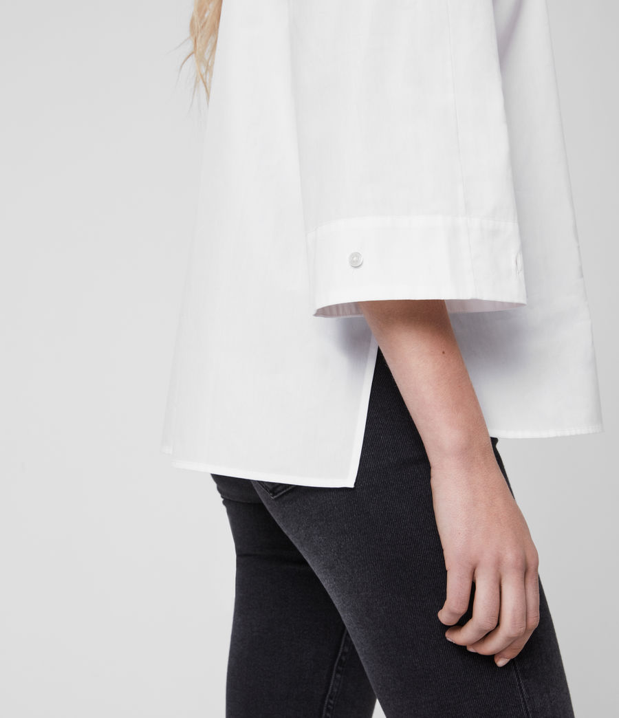 Mujer Camisa de Algodón con Manga Francesa Bernitta (chalk_white) - Image 5