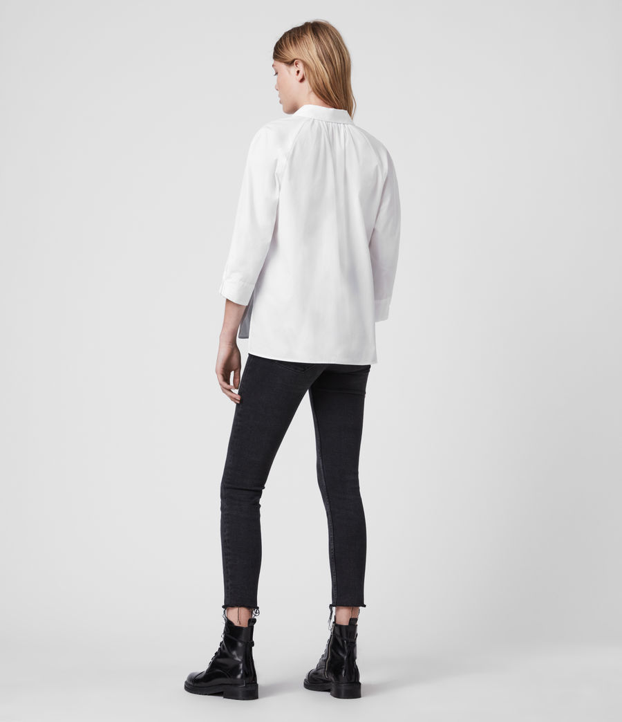 Mujer Camisa de Algodón con Manga Francesa Bernitta (chalk_white) - Image 6