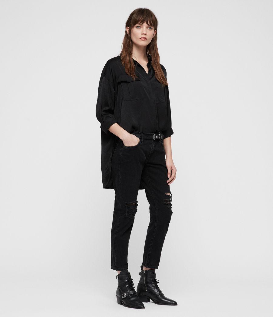 Womens Rylee Satin Shirt (black) - Image 1