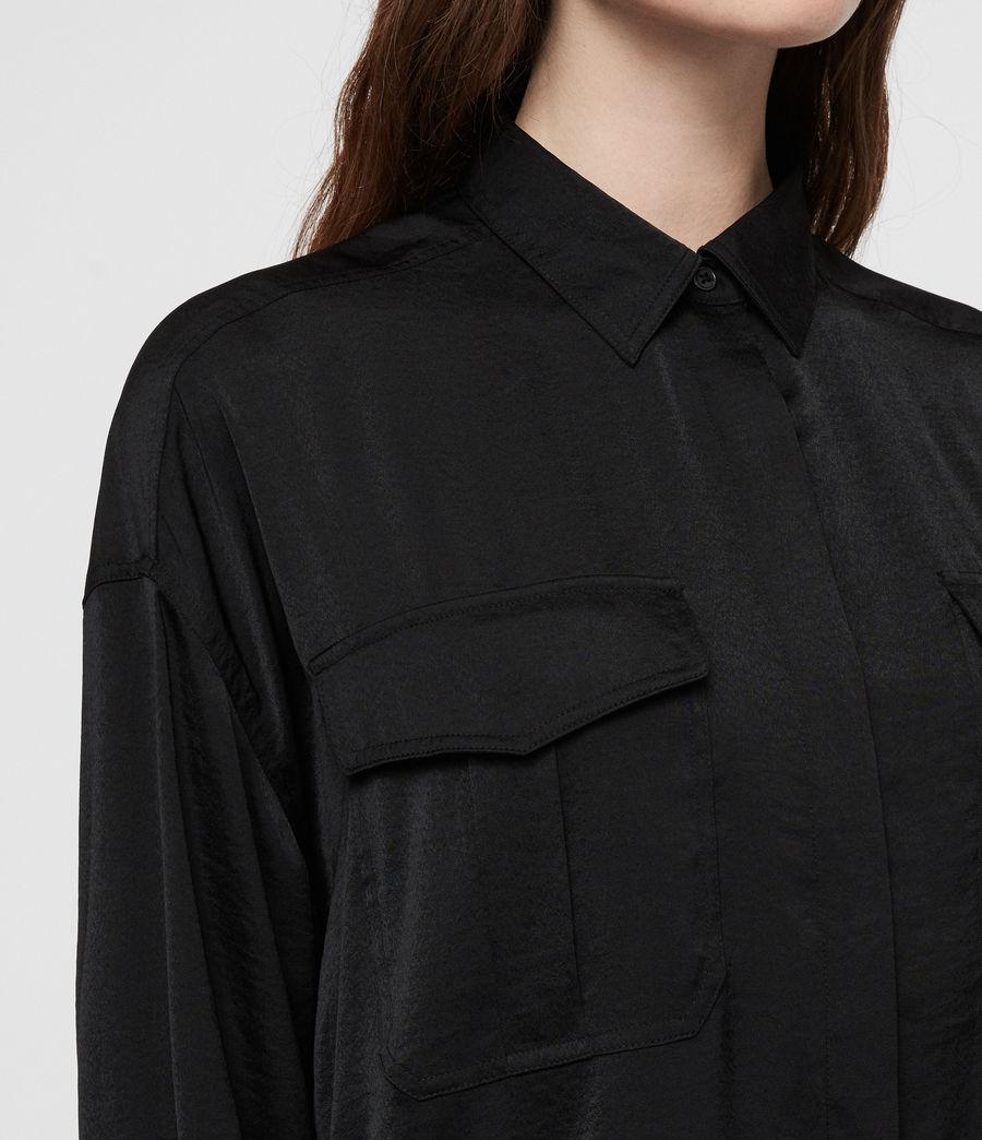 Womens Rylee Satin Shirt (black) - Image 2