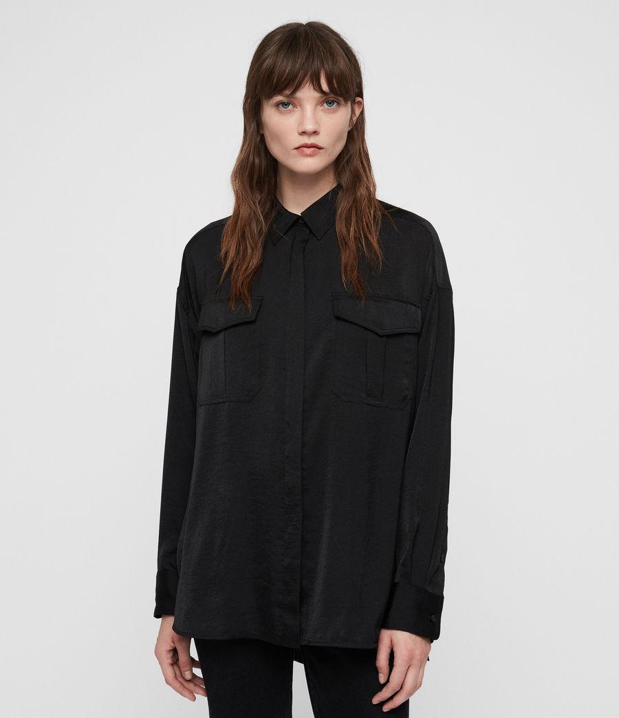 Womens Rylee Satin Shirt (black) - Image 3