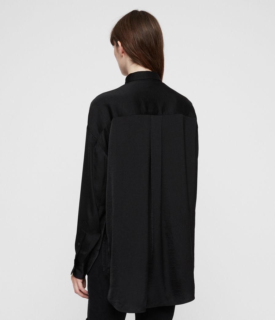 Womens Rylee Satin Shirt (black) - Image 4
