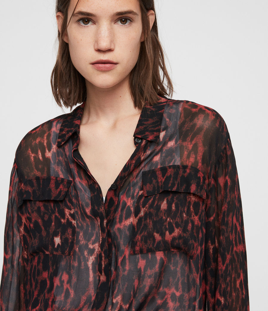 Women's Adeliza Leopard Shirt (red) - Image 2