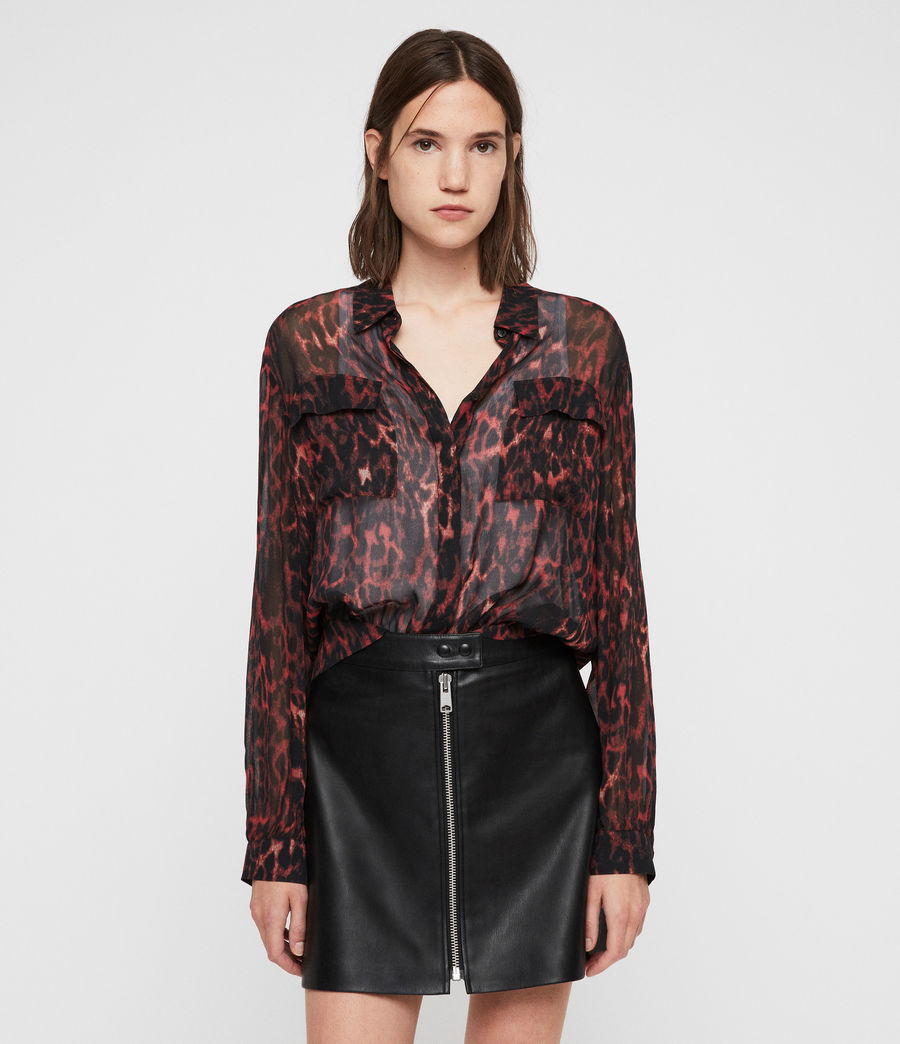 Women's Adeliza Leopard Shirt (red) - Image 3