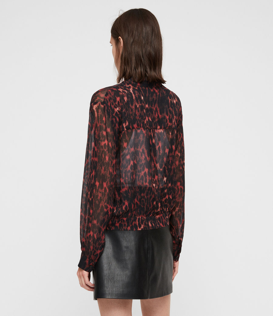 Women's Adeliza Leopard Shirt (red) - Image 4