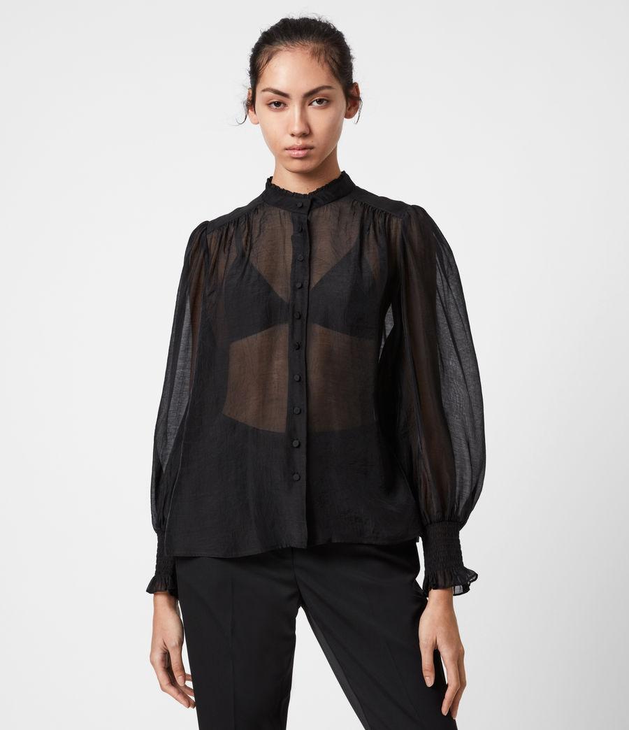 Femmes Chemise Semi-transparente Leonie (black) - Image 6